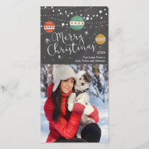 Christmas photo card with ornaments on chalkboard