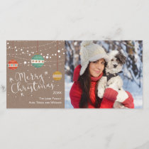 Christmas photo card with ornaments on kraft
