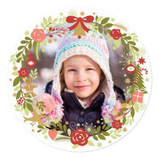 "Christmas Photo Cards | Festive Wreath 5.25"" Square Invitation Card"