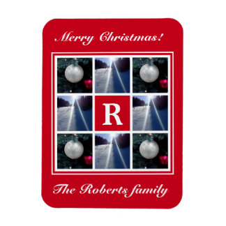 Christmas photo collage Custom Holiday monogram Magnet