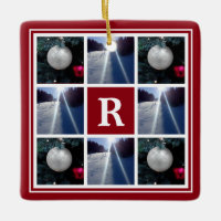 Christmas photo collage Custom monogram Holiday Ceramic Ornament