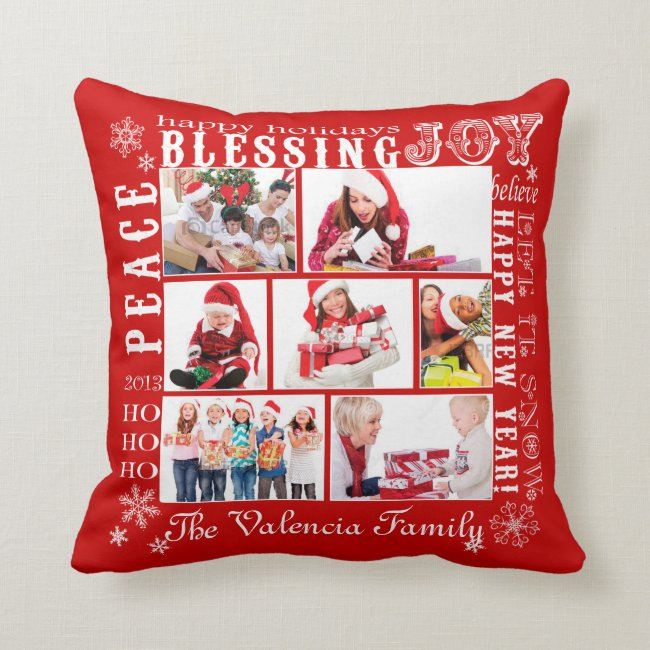 Christmas Photo Collage-Fully Customizable Throw Pillow