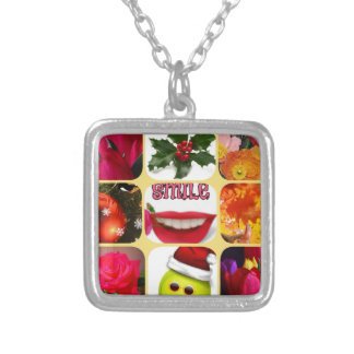 Christmas photo collage silver plated necklace
