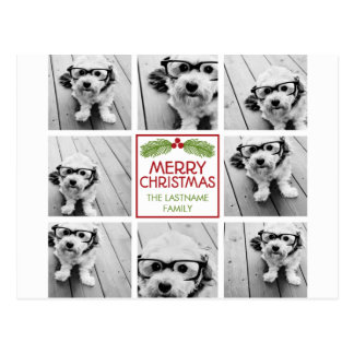 Christmas Photo Collage with Rustic Pine Postcard