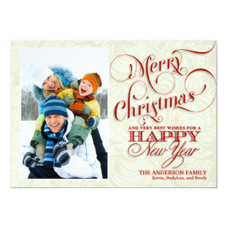 "Christmas Photo Flat Card - Red & White 5"" X 7"" Invitation Card"