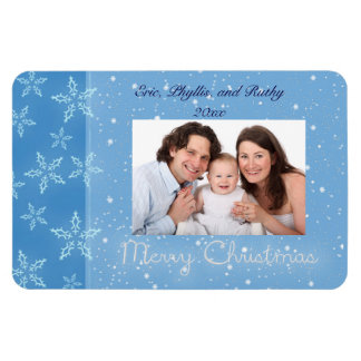 Christmas photo frame blue with Snowflakes Magnet