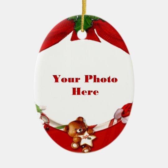 Christmas Photo Frame Ceramic Ornament Zazzle Com