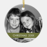 Christmas Photo Frame - Modern Double-Sided Ceramic Round Christmas Ornament