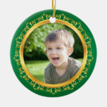 Christmas photo frame ornament, green and gold
