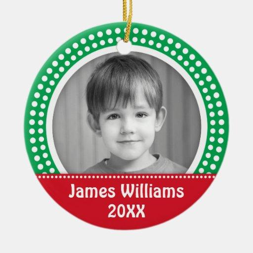 Christmas photo frame white dot snow border green christmas ornaments