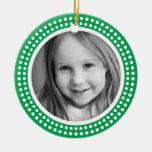 Christmas photo frame white dot snow border green Double-Sided ceramic round christmas ornament