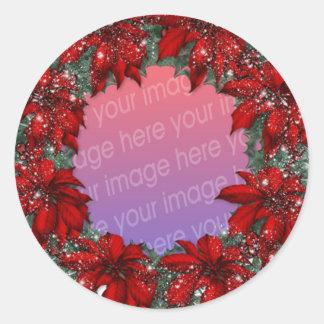 Christmas Photo Frames Classic Round Sticker