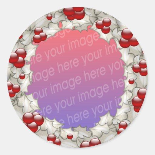 Christmas Photo Frames Round Stickers