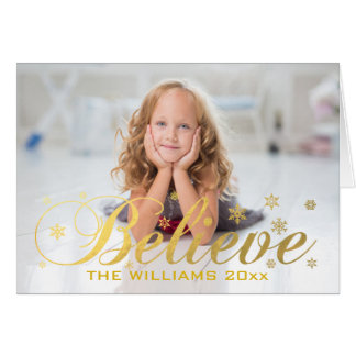 Christmas Photo Gold Believe Card