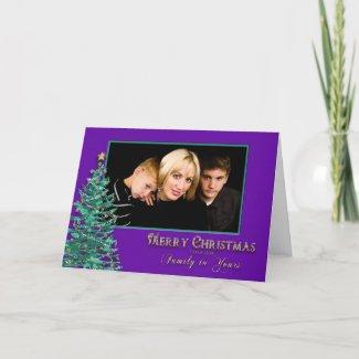 Christmas Photo Greeting - Purple/Teal card