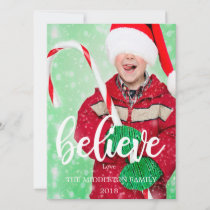 Christmas Photo Holiday  Believe Greeting Card