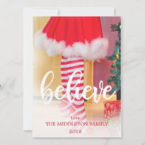 Christmas Photo Holiday  Believe  Striped
