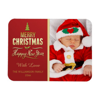 Christmas Photo Holiday Typography Red Gold Rectangular Photo Magnet