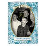 CHRISTMAS PHOTO INSERT BLUE SNOWFLAKES GREETING CARD