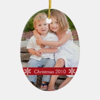 Christmas Photo keepsake Double-Sided Oval Ceramic Christmas Ornament