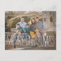 Christmas Photo Postcard, full photo, snow Holiday Postcard