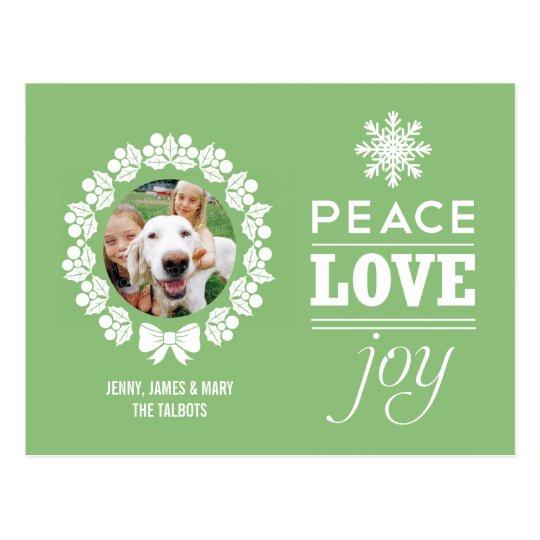 Christmas Photo Postcard - Peace, Love, and Joy