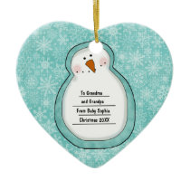 Christmas Photo Snowman Customizable Date and Name Ceramic Ornament