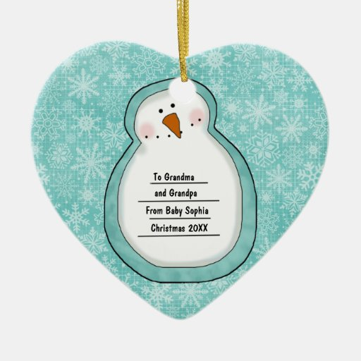 Christmas Photo Snowman Customizable Date and Name Double-Sided Heart Ceramic Christmas Ornament