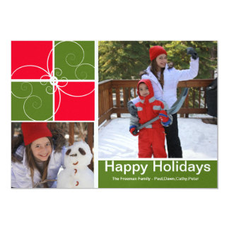 Christmas photo squares 5x7 paper invitation card