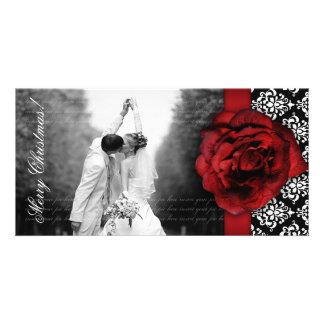 Christmas Photocard Red Rose Damask Black White Photo Card