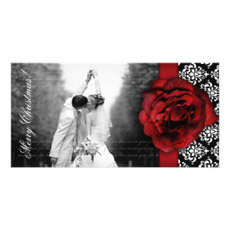 Christmas Photocard Red Rose Damask Black White Card