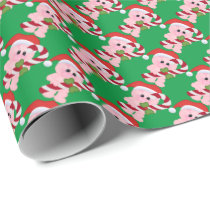 Christmas Pig cartoon Holiday wrapping paper