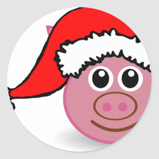 christmas pig classic round sticker