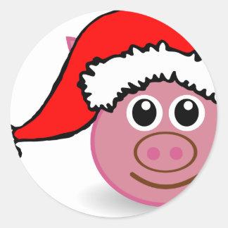 christmas pig classic round sticker