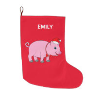 Christmas Pig Customizable 2-Sided Large Christmas Stocking