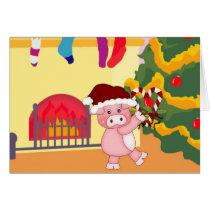 Christmas Pig Customizable Holiday Card