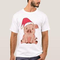 Christmas Pig Design T-Shirt