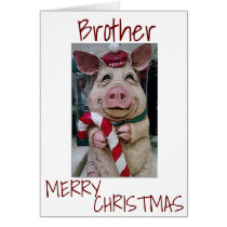 CHRISTMAS PIG FOR *MY BROTHER* READY TO CELEBRATE CARD