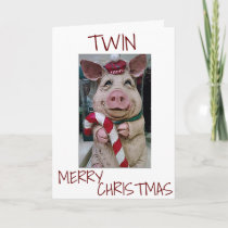 CHRISTMAS PIG FOR *MY TWIN* READY TO CELEBRATE HOLIDAY CARD
