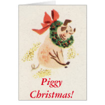 Christmas Pig Greeting Cards Piggy Christmas!