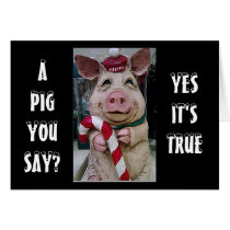CHRISTMAS PIG/HIS CANDY CANE FOR YOU THIS YEAR CARD