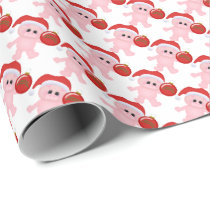 Christmas Pig Holiday cartoon wrapping paper