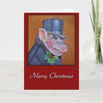 Christmas Pig Holiday Greeting Card