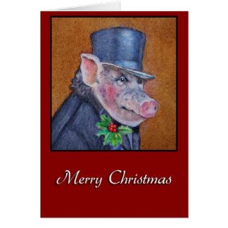 Christmas Pig Holiday Greeting Card