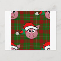 christmas pig holiday postcard