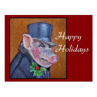 Christmas Pig Holiday Postcard