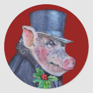 Christmas Pig Holiday Stickers