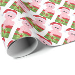 """Christmas Pig Holiday wrapping paper<br><div class=""""desc"""">design by Kristi W. Designs at www.graphicsnbits.com</div>"""