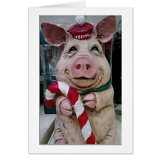 """CHRISTMAS PIG HUSBAND-LOVE YOU/LAUGHING WITH """"YOU"""" CARD"""
