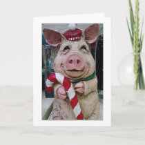 """CHRISTMAS PIG HUSBAND-LOVE YOU/LAUGHING WITH """"YOU"""" HOLIDAY CARD"""